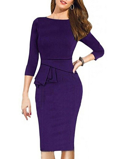 Vintage Sheath Pencil Work To Wear Dress - Purple / Midi / Party .