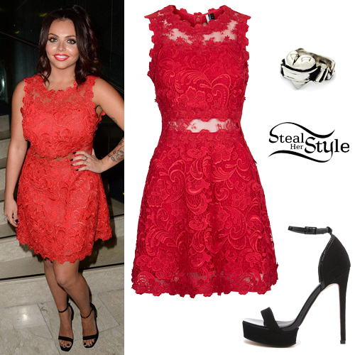 Jesy Nelson: Red Lace Dress Outfit | Steal Her Sty