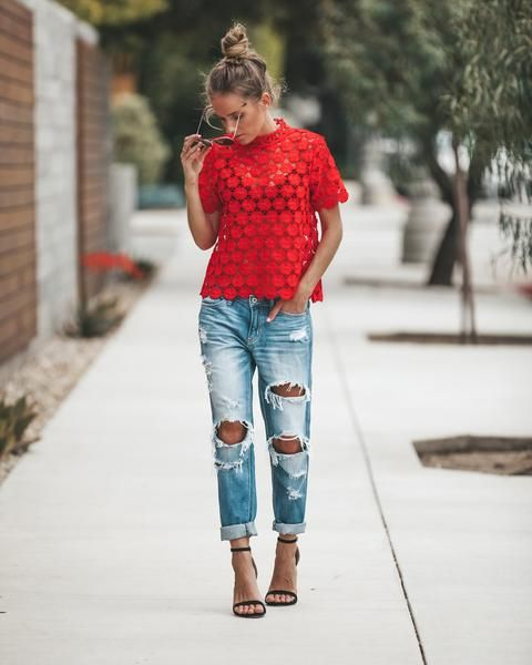 Josephine Crochet Top - Red | Lace shirt outfit, Red lace shirt .