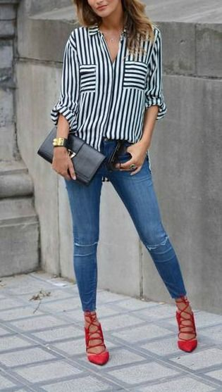 Stripes + red lace up heel. | Fashion, Red shoes outfit, Red heels .