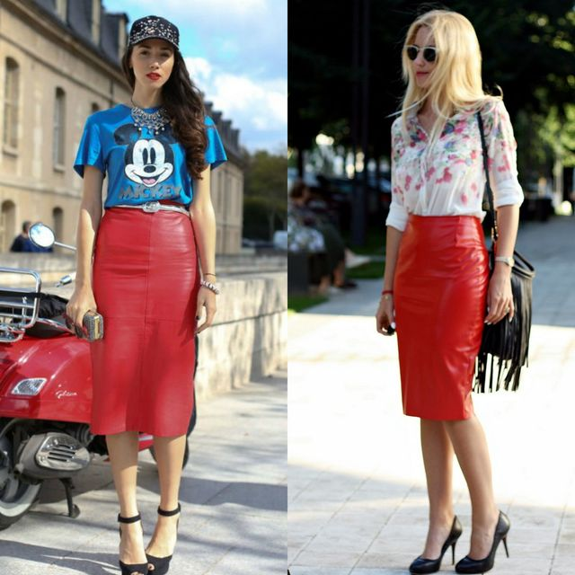 red leather skirt outfit ideas > Up to 63% OFF > In sto