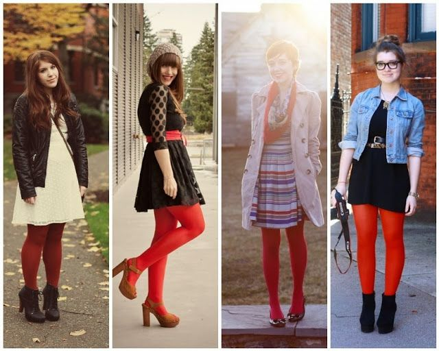 The Lovely Side: 13 Ways to Wear Red Tights   Red tights, Cute .