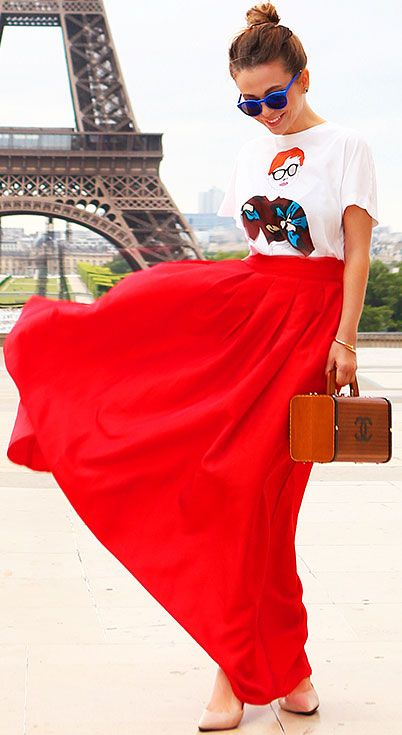 25 Maxi Skirt Outfits Ideas | StayGlam | Maxi skirt outfits, Red .