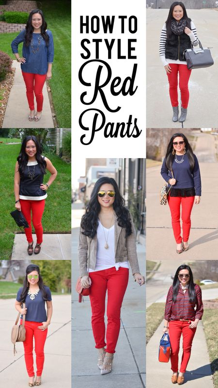 How to style red pants | Red pants outfit, Red pants, Red jeans outf