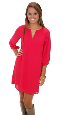 Classic Tunic Dress, Red :: GAMEDAY :: The Blue Door Boutique .