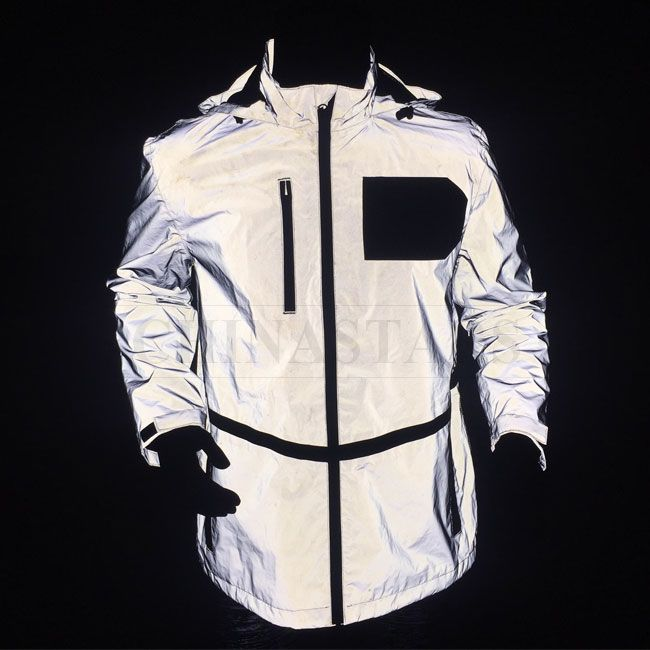 This fashion jacket made of reflective fabric which will reflect .