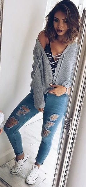 summer #outfits Grey Lace-up Top Ripped Skinny Jeans White .