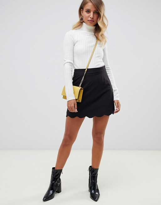 ASOS DESIGN tailored a-line mini skirt with scallop hem   AS