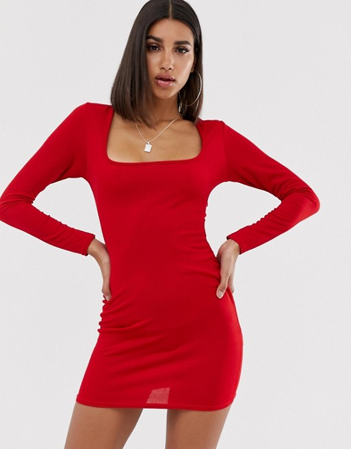 In The Style Scoop Neck Long Sleeve Dress | AS