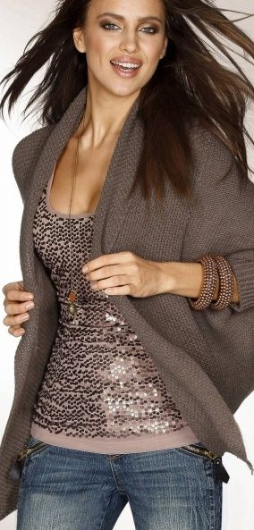 sequin tank, cute look with the sweater - yourfashion.co | Fashion .