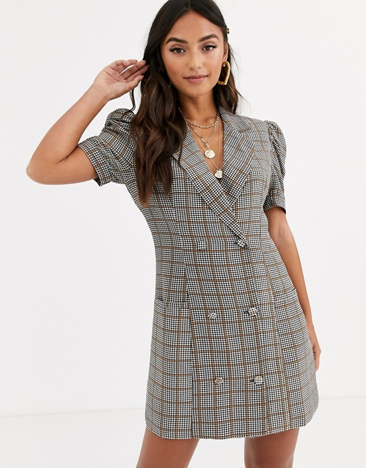 In The Style short sleeve check blazer dress | AS