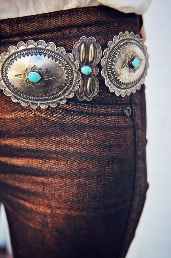 Copper Jeans with a Western Style Silver and Turquoise Belt | ʝ .
