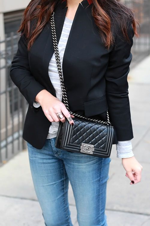 Black Blazer | Chanel boy bag small, Chanel handbags, Chanel small b