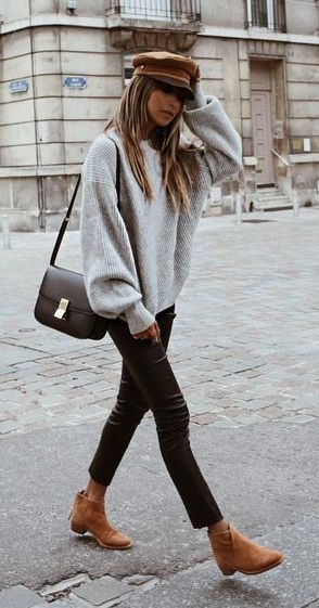 fall street style. knit top. denim. tan ankle boots. | Perfect .