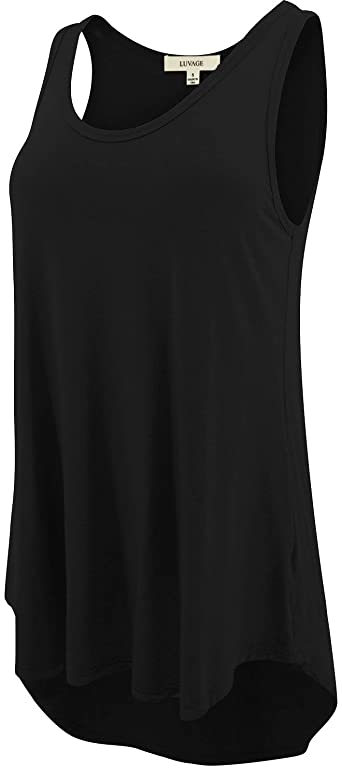 LUVAGE Women's High Low Tunic Tank Top Shirt - Casual Sleeveless .