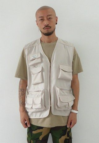 NEW 90S STYLE MULTI-POCKET UTILITY VEST IN CREAM   Vest outfits .