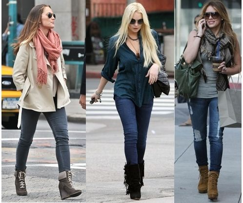 How to Wear Wedge Boots | Wedges outfit casual, Western dresses .
