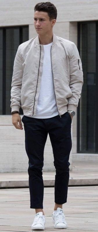Fall fashion inspiration with a white bomber jacket white t-shirt .