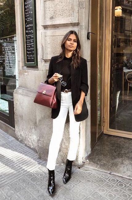 White cropped jeans, black ankle boots, black sweater, black .
