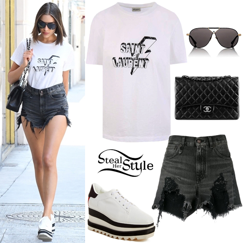 Olivia Culpo: White Graphic Tee, Destroyed Shorts | Steal Her Sty