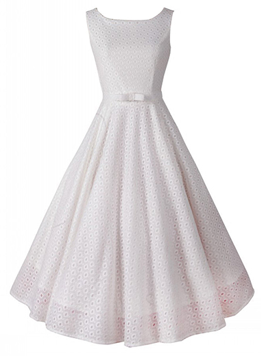 Retro 1950s Vintage Party Swing Dresses - White / Sleeveless .