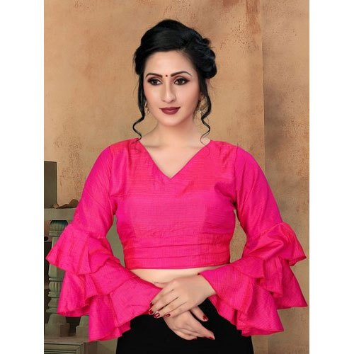 Pink Plain Ladies Party Wear Bell Sleeve Blouse, Size: 30-40, Rs .