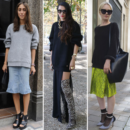 How to Wear Big Sweaters With Skirts | Fall 2012 | POPSUGAR Fashi