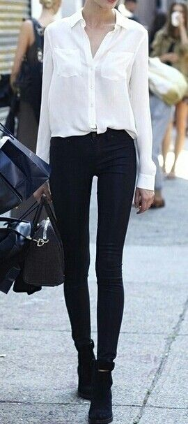 Street style | White blouse and black pants | Fashion, Street .