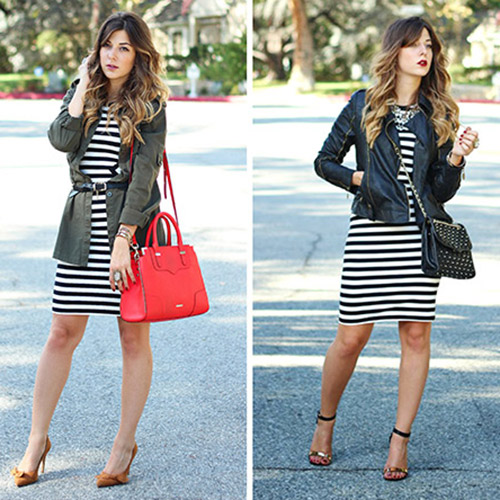 The Black And White Striped Dress: Day to Night | SoInTheKn