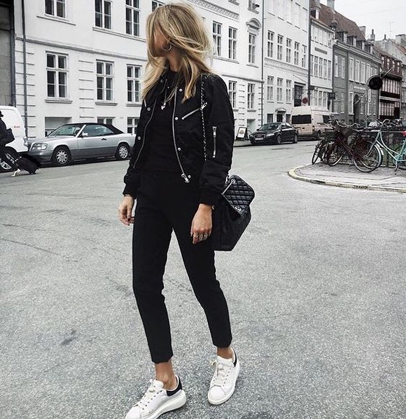How To Wear Black Bomber Jacket With Black Skinnies And White .