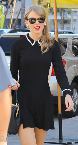 Taylor Swift's Black long sleeve collared dress out in LA | What .