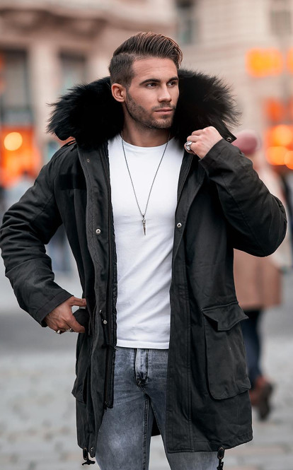 Men's Winter Style: Black Parka Jacket With Fur And Light Blue .