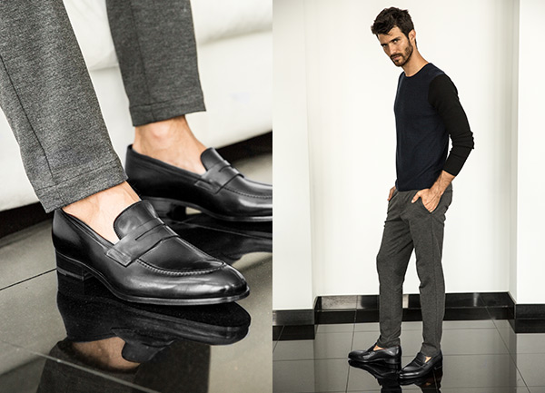 Penny Loafer Shoes in Black Antiq