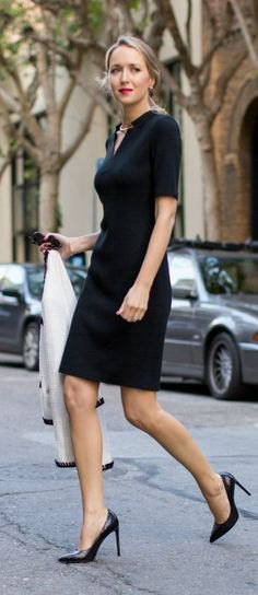 15 Best Outfit Ideas on How to Wear Black Sheath Dress - FMag.c