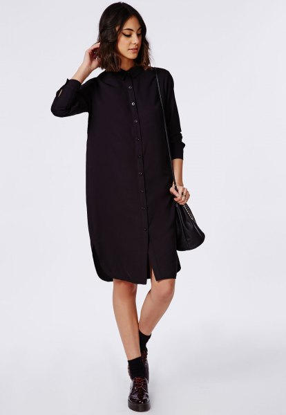 15 Best Outfit Ideas on How to Wear Black Shirt Dress - FMag.c