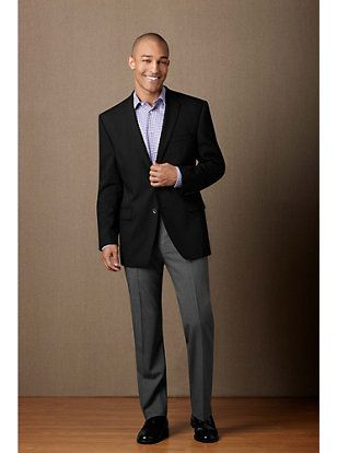 Black Sport Coat, Grey Slacks, No Tie | Business casual attire for .