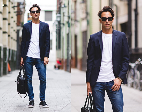 Which color of jeans can one wear with a navy blue blazer? - Quo