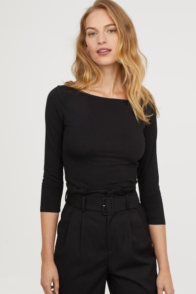 Boat-necked Jersey Top - Black - Ladies | H&M US in 2020 | Boat .