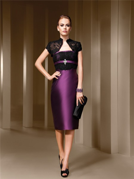 Fitted Strapless Purple Satin Black Lace Short Evening Wear Dress .