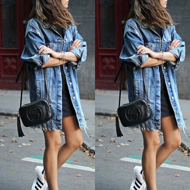 Multitrust - Multitrust Women Retro Boyfriend Style Denim Jacket .