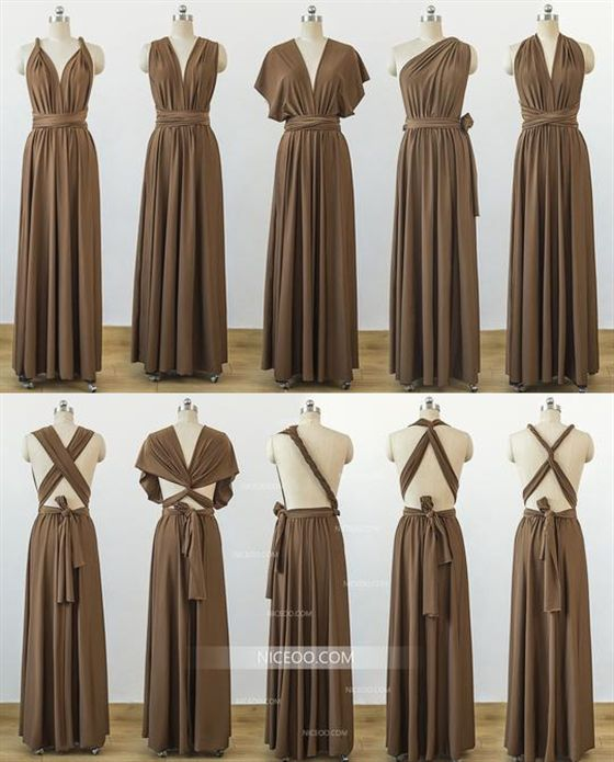 Brown Convertible Bridesmaid Dresses, Infinity Dresses, Multiway .