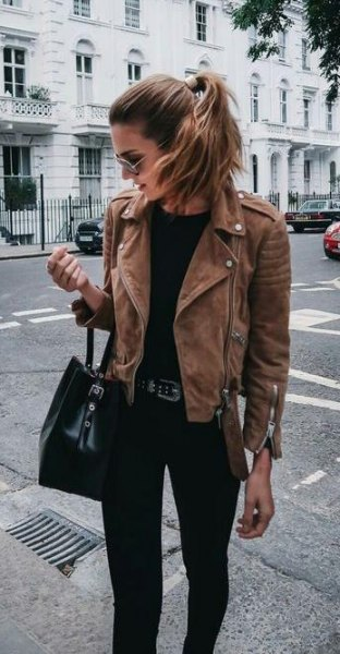 How to Wear Brown Suede Jacket for Women - FMag.c