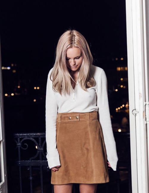 Suede Trend 2015: Sofi Fahrman is wearing a brown suede skirt from .