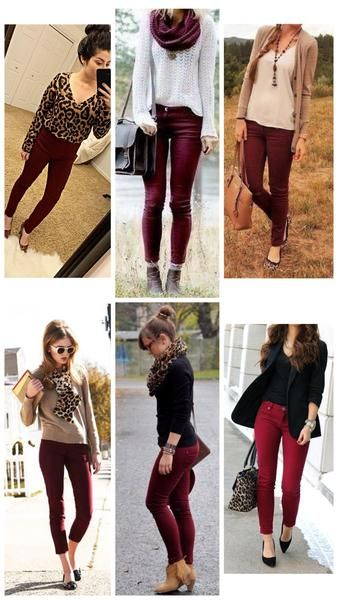 How to Wear Burgundy Pants | Outfits with leggings, Burgundy jeans .