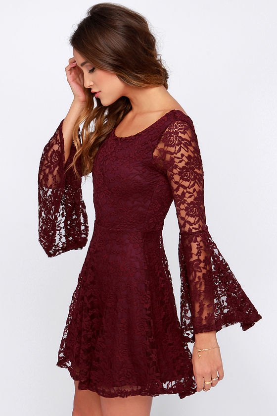 How to Wear Burgundy Lace Dress: Top Outfit Ideas - FMag.c