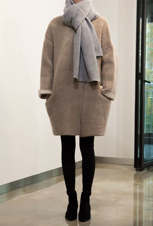 mahabis style // cocoon coat and neutral layers to combat the cold .