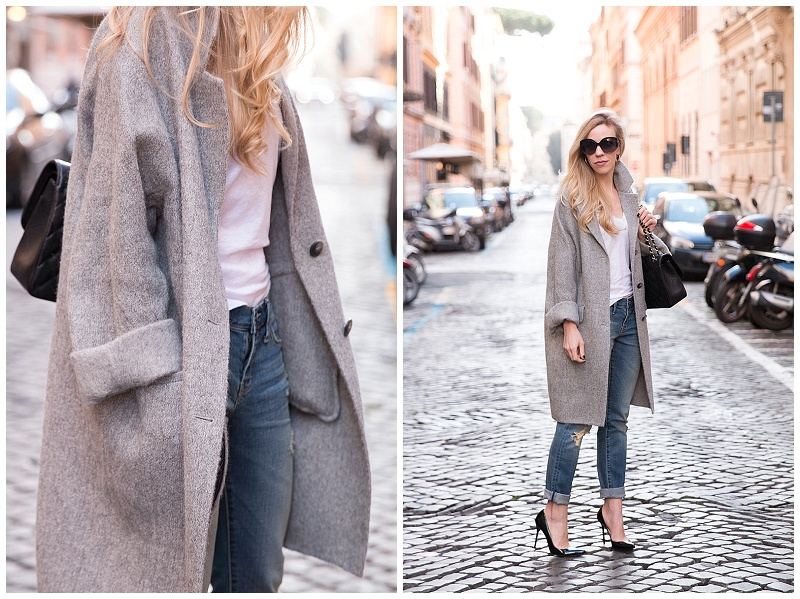 slouchy gray cocoon coat, oversized gray coat with boyfriend jeans .