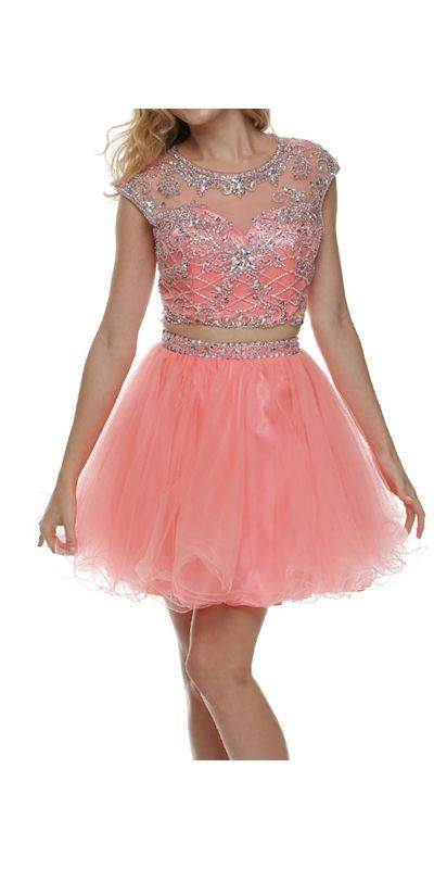 Cropped Bodice Jewel Neck Coral Short Puffy Prom Dress | Short .