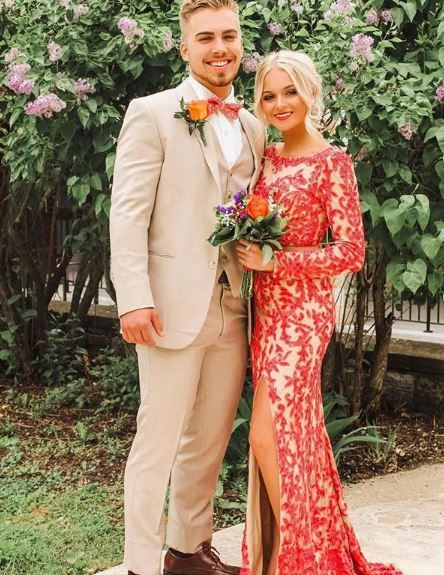 Tan & Coral Prom | Prom couples, Summer wedding outfits, Prom tuxe