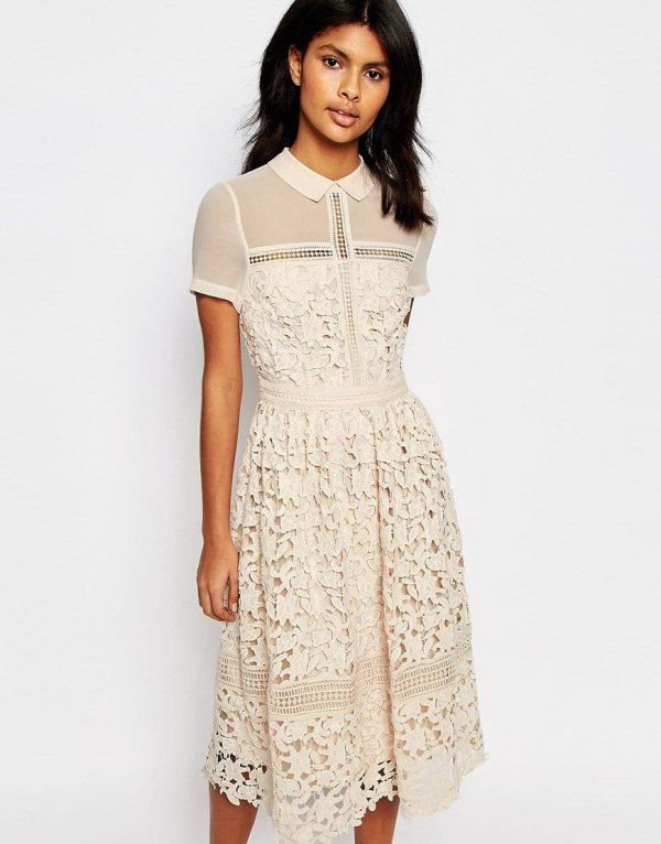 How to Wear Cream Lace Dress: 15 Lovely Outfit Ideas - FMag.c